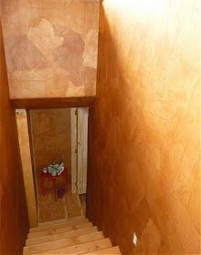 Faux Leather Wall Treatment for the stairwell. In January of this year I began to work on finishing the stairwell. It has been built for . Faux Leather Walls, Diy Wood Wall, Types Of Craft, Easy Wall, Decorating Tools, Concrete Wall, Wall Treatments, Interior Walls, Wall Design