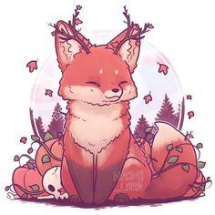 Fox 🍁✨ as part of my seasonal foxes! Only winter left. ✨🍁 Autumn Fox 🍁✨ as part of my seasonal foxes! Only winter left!,✨🍁 Autumn Fox 🍁✨ as part of my seasonal foxes! Only winter left!, Kawaii Yin and Yang Foxes Stickers and/ or Prints Art Kawaii, Cute Kawaii Drawings, Cute Animal Drawings, Sooo Kawaii, Cute Fox Drawing, Kawaii Chibi, Furry Art, Art Fox, Stickers Kawaii