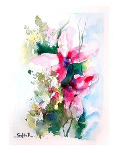 Passionate Ensemble  Watercolor Print of Original by SophieRR, $40.00