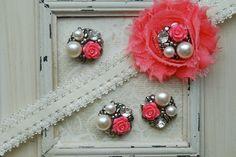 4 Metal MEDIUM PINK Flower Pearl Cluster Buttons Flatback