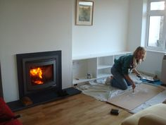 Kernow Fires Scan DSA with slate hearth wood burning stove installation in C. , Kernow Fires Scan DSA with slate hearth wood burning stove installation in Cornwall. Inset Fireplace, Log Burner Fireplace, Wood Burning Fireplace Inserts, Modern Fireplace, Wood Burner, Fireplace Ideas, Inset Log Burners, Inset Stoves, Living Room Update