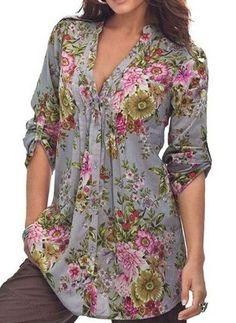 USPS 2018 plus size Women Vintage Floral Print fashion blouse V-neck Tunic Tops Women's Fashion Plus Size Tops Shirt women tops Plus Size Tops, Plus Size Women, Blouse Sexy, Blouse Outfit, Tunic Blouse, Grey Blouse, Top Mode, Mode Plus, Blouse Styles