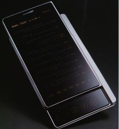 A slim smartphone concept with slide up screen to reveal navigation buttons.