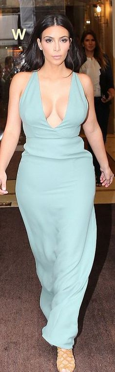 a398fdd433e Who made Kim Kardashian's mint green gown and brown suede lace up sandals?…  Monique