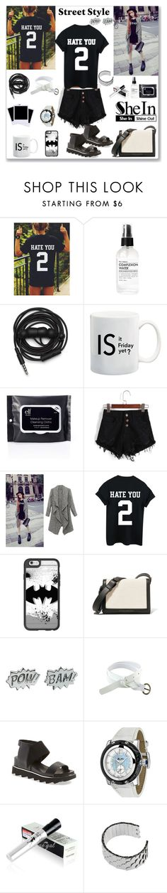 """""""Shein Black T-Shirt"""" by ludmyla-stoyan ❤ liked on Polyvore featuring Fig+Yarrow, Polaroid, Urbanears, Casetify, Victoria Beckham, Edge Only, UN United Nude, Glam Rock, black and print"""