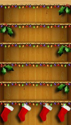 Christmas Shelves Homescreen Holiday iPhone 5 Wallpaper - Decks
