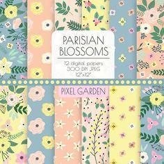 Grey and yellow digital paper Pastel Floral, Pastel Yellow, Pink Grey, Gray, Decoupage, Galaxy Theme, Papel Scrapbook, Etsy Uk, Wedding Paper