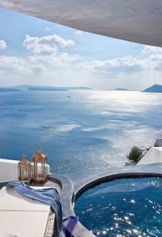 Santorini island, Greece - Our own private pool! Places Around The World, The Places Youll Go, Places To See, Around The Worlds, Vacation Destinations, Dream Vacations, Vacation Spots, Greece Destinations, Amazing Destinations