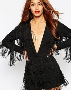 ASOS Romper with Plunge Neck with All Over Fringing