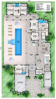 Florida House Plan with Guest Wing Tuscan, Luxury, Floor Master Suite, Butler Walk-in Pantry, Split Bedrooms Florida House Plans, Pool House Plans, Dream House Plans, Modern House Plans, Florida Home, Florida Style, U Shaped House Plans, House Design Plans, Guest House Plans
