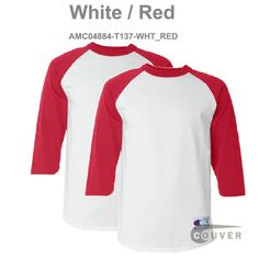 aa7b6505 White / Red Champion Men's Raglan Baseball T-Shirt - 2 Pieces Set Raglan  Baseball