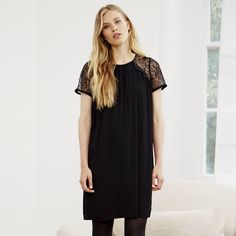 Lace Sleeve Dress - Black | The White Company