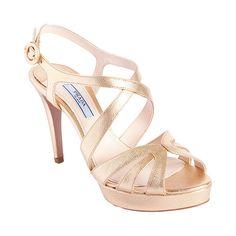 Brides.com: Rose Gold Wedding Shoes. Prada multi-band platform sandal, $790, available at Barneys New York  See more summer wedding accessories.