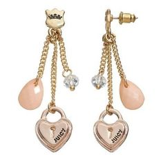 New Juicy Couture Pierced Glamour Heart Lock Earrings | eBay