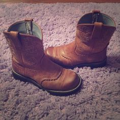 Ariat Fatbaby Saddle Boots Only worn 3-5 times. Got as a gift and never fit properly! Ariat Shoes Combat & Moto Boots