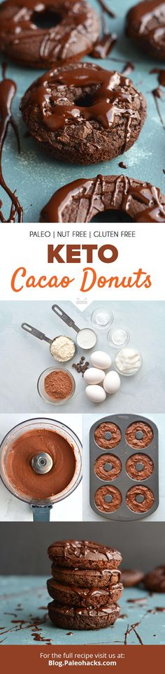 Satisfy your morning chocolate cravings with these uber-rich Keto Cacao Donuts. Enjoy everything you love about chocolate donuts, now in keto form. Low Carb Desserts, Healthy Desserts, Low Carb Recipes, Paleo Treats, Free Recipes, Healthy Recipes, Donut Recipes, Pastry Recipes, Paleo Dessert
