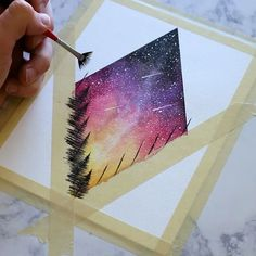 A quick process video of one of my classic diamond starry skies. This one showing the last of the suns rays, with a few shooting stars let me know what you guys think, or if you have any questions about how I painted it! Available on Etsy right now . Painting Inspiration, Art Inspo, Layout Inspiration, Art Diy, Art Techniques, Watercolour Techniques, Art Tutorials, Watercolor Art, Watercolor Galaxy