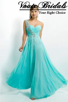 Crystals Cheap Prom Dress UK Plus Size One Shoulder Crystal Turquoise Champagne Customize Long Chiffon Prom Dresses 2014 $126.00