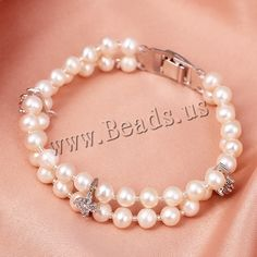 Freshwater Cultured Pearl Bracelet, Freshwater Pearl, with Glass Seed Beads & Brass, Potato, natural, with cubic zirconia & 2-strand, white, 6mm,china wholesale jewelry beads