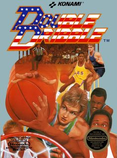 """Box art for """"Double Dribble,"""" an arcade basketball game for the Nintendo Entertainment System and PCs released by Konami in 1987 Nes Games, Games Box, Nintendo Games, Arcade Games, Classic Video Games, Retro Video Games, Retro Games, Childhood Toys, Childhood Memories"""