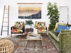 Color, texture and pattern play are the stars of both the family and powder room in the Pearl St. Check out mix-master Murphy Deesign's latest! Decor, Living Room Decor Apartment, Living Room Reveal, Print Armchair, Calming Spaces, Green Velvet Sofa, Cozy Apartment, Room, Room Decor