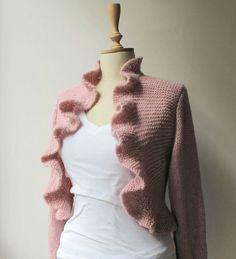 Long Sleeve Bridal Ruffle Bolero  Wedding  by crochetbutterfly, $85.00