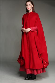 Maxi Wool Coat 100% CASHMERE Red Coat Jacket maxi by camelliatune