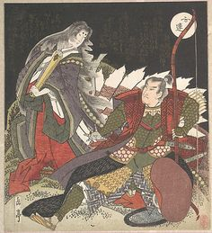 Warrior and Noble Lady  Yashima Gakutei  (Japanese, 1786?–1868)  Period: Edo period (1615–1868) Date: 19th century Culture: Japan Medium: Polychrome woodblock print (surimono); ink and color on paper