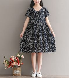 Buy Snow Flower Short-Sleeve Floral A-line Dress | YesStyle