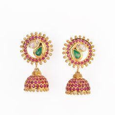 Shop Ruby, Emerald & Uncut #DiamondJhumki Online at Gehna in India for #Valentine'sDayGift.