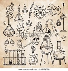Set of trendy vector Alchemy symbols collection on aged paper background. Religion, philosophy, spirituality, occultism, chemistry, science, magic. Design and tattoo elements.Vector illustration.