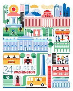 24 hours in Washington, USA is part of a series designed by Fernando Volken Togni for the Oryx Magazine, Qatar Airways. If you like this illustration check out India, South.