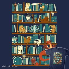 Library of the Ring | Shirtoid #book #books #cat #cats #dragon #film #jrrtolkien #library #movies #smaug #taylorross #thelordoftherings