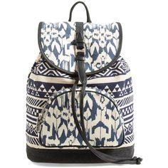 TOMS Ikat Print Backpack (310 VEF) ❤ liked on Polyvore featuring bags, backpacks, indigo, backpacks bags, pocket bag, pocket backpack, rucksack bag and toms backpack