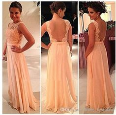 Wholesale Evening Dress - Buy !High Quality Nude Back Chiffon Lace Long Peach Color Bridesmaid Dress Brides Maid Dress BD111, $84.78 | DHgate