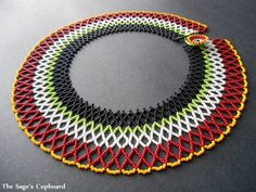 Egyptian and tribal inspired jewelry designs by The Sage's Cupboard are one of a kind and metal-free, handcrafted with high quality glass and natural beads. Seed Bead Necklace, Seed Bead Bracelets, Seed Bead Jewelry, Bead Jewellery, Beaded Necklace, Beaded Chocker, Beaded Collar, Beaded Jewelry Patterns, Beading Patterns