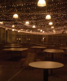 Room lowered by a layer of fairy lights in the hanger