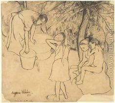 Drawing For The Drypoint Childrens Bath In The Garden Suzanne Valadon | Oil Painting Reproduction | 1st-Art-Gallery.com