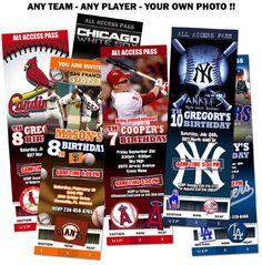 Mlb baseball Invitations birthday party invites printable - custom card ticket photo digital file 1st first baby shower. $11.99, via Etsy.