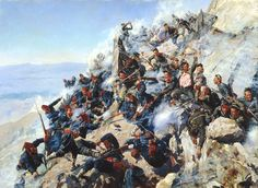 Russians and Bulgarians defend Shipka pass against Ottoman Turks