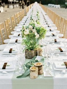 Chocolate, Copper, Greens and Creams Wedding Reception Table