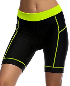 Bike Riding Shorts - Women Quick Dry 3D Padded Cycling Tight Shorts Bike Half Pants (Green) Check out the image by visiting the link.