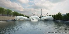 "Paris - Trampoline Bridge across the Seine.. the definition of whimsical! .. As the design firm puts it, the bridge is ""dedicated to the joyful release from gravity."""