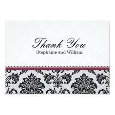 Damask Burgundy Wedding Thank You Card