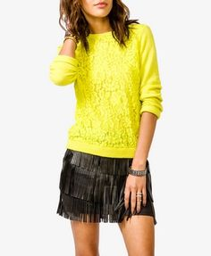 Bejeweled Lace Front Sweater | FOREVER 21 - 2027706181