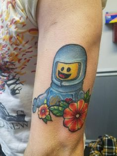 Benny from the Lego movie by new tattoo artist Matt Crowe at Simply Ink Therapy. Jamesburg NJ.