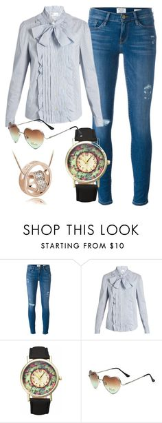 """""""Heart in ring necklace"""" by info-klompa ❤ liked on Polyvore featuring Frame Denim and RED Valentino"""