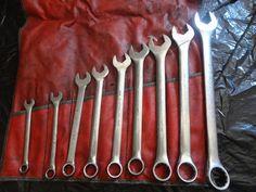 Vintage Blue Line Combination Wrench Set of 9 tools Standards w/ storage bag find me at www.dandeepop.com