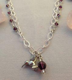 Hummingbird Charm Amethyst Silver Necklace by JenRusJewelry, $20.00