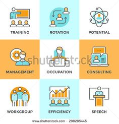 Line icons set with flat design elements of corporate management, business people training, online professional consulting service, efficiency of team skill. Modern vector pictogram collection concept